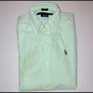 Ralph Lauren Oxford Shirt Green Stripe Slim Fit 0